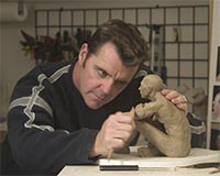 Gregory sculpting his Truth-seeker sculpture